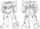 HGUC Zaku Kai lineart by Katoki Hajime